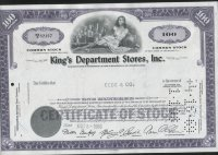 "Aкция США ""King's Department Stores, Inc."" 1968"